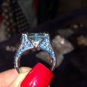 Bold  bling statement ring. Many shades of blue.